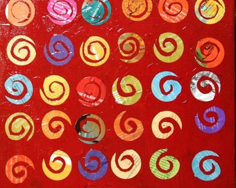 16x20 Abstract Collage on Canvas- Spirals