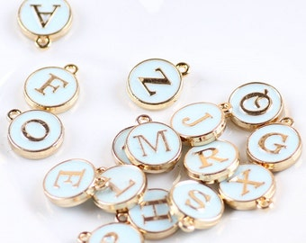 Enamel Light Blue & Gold English Letter Charm 2 Sided Alphabet Charm Personalized Jewelery DIY Bracelet