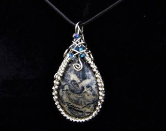 Sterling Silver Grey Stone Wire Wrapped Pendant Necklace