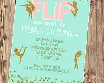 Gymnastics party invite -  dancer invitation - Printable File - mint pink gold