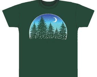 Forest T-shirt. On a dark green 100% cotton heavyweight T. Trees T-shirt/ Hiking T-shirt