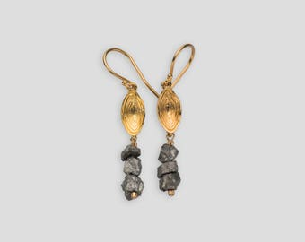 Gold plated sterling silver shell earrings featuring rough pyrite beads - S-50