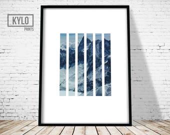 Snow Mountain Print, Mountain Art, Minimalist Design Art Print, Modern Photography Print, Nature Print, Nature Abstract Art, Mountain Print