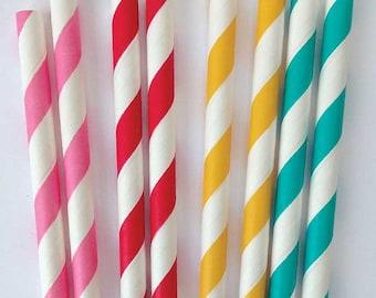 Citrus Mix Paper Straws - 25 Party Straws, Birthday Straws, Paper Party Straws, Drinking Straws, Wedding, Red Yellow Pink Aqua