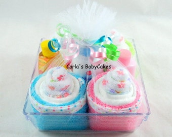 Infant Washcloth Cupcake | New Mom Gift | Baby Shower Gift | Baby Shower Decoration | Baby Gift Basket | New mom gift | Diaper Cupcakes