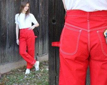 Vintage 80s Red Dee Cee HIGH Waist Utility Carpenter Painter Jeans Pants 29x31