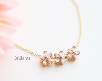 Cherry blossom pendant necklace in gold, Bridesmaid necklace, Bridesmaid gift, Wedding necklace, Sakura, Pink flower, Mothers day gift