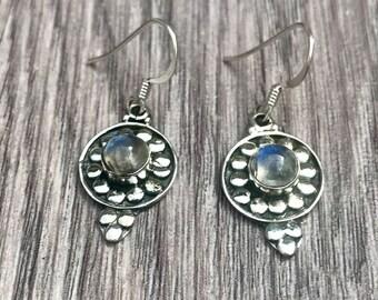 Moonstone hoop earrings,  tribal earrings, silver hoops, Gemstone earrings, round flower earrings, drop earrings, boho Gypsy earrings,