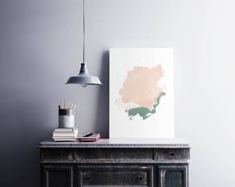 Abstract watercolor print Color spots in pink green Minimal wall art