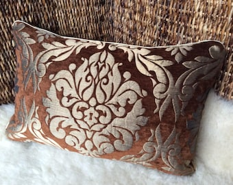 Velvet Brocade Pillow Brown/gold bronze-historic ornaments, middle age, middle age, woven fabric cover Pillow