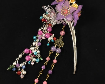 Purple Floral Hair Pin with Dangling Stars and Beads