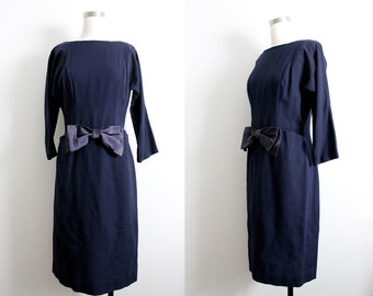 1960s Navy Wool Dress with bow and front pockets