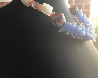 Blue Bubbles Necklace/ African Necklace