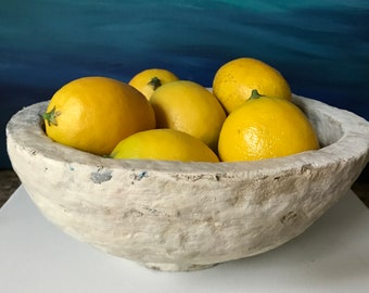 Papier mache bowl centerpiece succulent holder fruit bowl rustic home decor industrial home decor