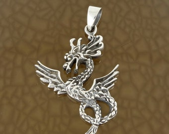 Sterling Silver Flying Dragon Pendant Free Shipping!