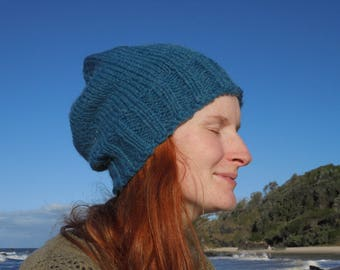 Teal knitted slouchie