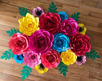 16 pc Paper Flower Wall Decor, fiesta, Coco, paper flowers, nursery, home decor, Customize your colors!