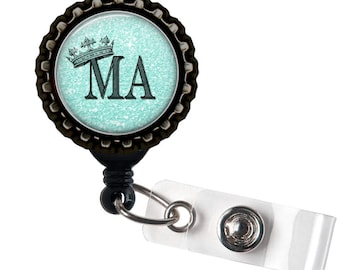 MA ROYALTY- Blue and Black Retractable Badge Reel ID Holder