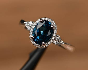 London blue topaz ring oval cut promise engagement ring solid sterling silver ring blue birthstone gemstone ring