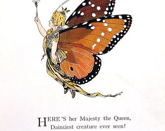 Queen Butterfly, Snout Butterfly - 1914 Antique Book Page - Butterfly Babies, Butterfly Children - 9 x 6