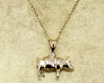Gold Pig Necklace, Solid 14kt Gold Pig Necklace, Sow Necklace, Pig farmer or rancher necklace, Farm animal gift for her