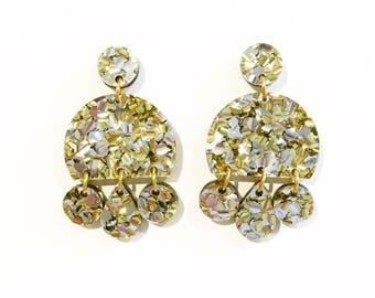 Gold and silver glitter umbrella shaped drop earrings, drop earrings, acrylic earrings, laser cut earrings