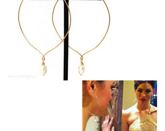 Freshwater Pearl Earrings, Pearl Hoop Earrings, Pearl Jewelry, Hoop Earrings, Large Gold Hoop Earrings, Freshwater Pearls