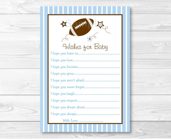 Football Wishes for Baby / Football Baby Shower / Sports Baby