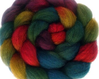 Handpainted Dark BFL Wool Roving - 4 oz. ARCADE - Spinning Fiber