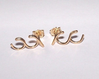 14K Gold Filled Ocean Waves Earrings with posts