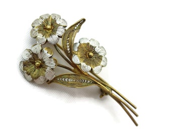 Silver Filigree Flower Brooch - Daisy Bouquet, 800 Silver Jewelry