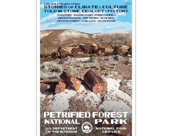 "Petrified Forest National Park WPA style poster. 13"" x 19"" Original artwork, signed by the artist. Free Shipping !"