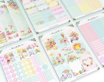 Blooming -  EC Vertical Weekly Planner Sticker Kit with optional clips
