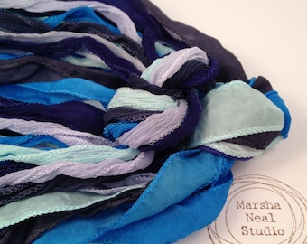 Silk Ribbon - Hand Painted Silk - Silky Ribbon - Fairy Ribbon - Jewelry Supplies - Wrap Bracelet - Craft Supplies - Sky Blue Color Palette