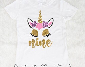 Nine Unicorn Birthday Shirt, Birthday Girl Shirt, 9 Birthday Shirt Nine Shirt Birthday Girl 9th Birthday shirt Glitter Birthday Girl Outfit