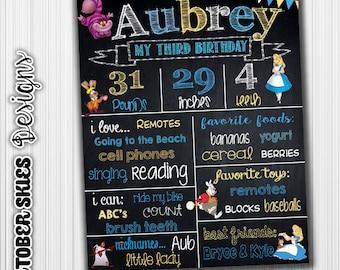 Alice In Wonderland Chalkboard, 1st Birthday, Birthday Chalkboard, Custom, Printable, Birthday Sign, Birthday Chalkboard