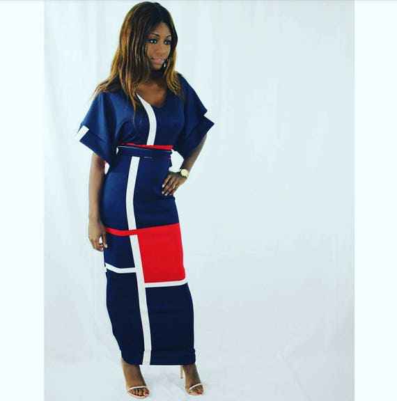 Lena Colour Block Navy Full Length Dress