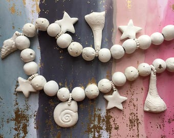 White Necklace Beach Shells Clay Beads Vintage Jewelry
