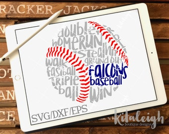 Messy Falcons Baseball INSTANT DOWNLOAD in dxf, svg, eps for use with programs such as Silhouette Studio and Cricut Design Space