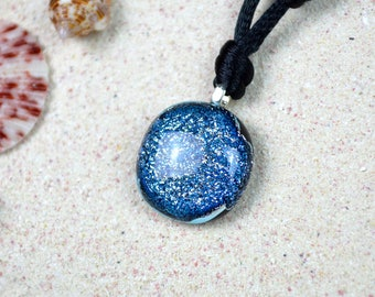 Silver Dichroic Glass Necklace – Silver and Blue Glass Pendant Necklace for Women on Sterling Silver Chain or Black Cord