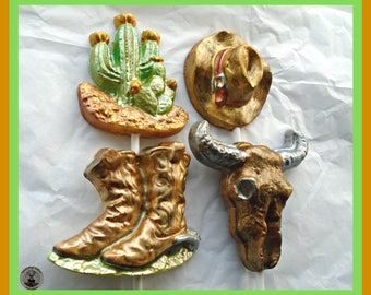 Cowboy Chocolate Lollipops/Boots/Hat/Cactus/Steer/Mens Gift/Western Gift/Texas/Arizona/Rancher/Country Style/Male Birthday/Women/Canadian