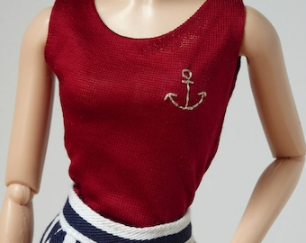 Red blouse with hand embroidered anchor for Poppy Parker / Barbie
