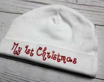 Baby hat, new baby, newborn gift, baby shower, christmas hat, my first christmas