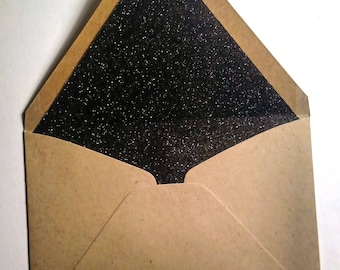 Black glitter lined Beige Envelopes