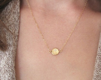 Delicate Gold Necklace, Gold Layering Disc Necklace, Gold Disc Crystal Necklace, Dainty Gold Disc Necklace - 14K Gold-Filled Chain