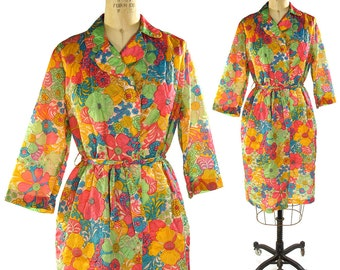 Saks Fifth Ave House Coat / Vintage 1960s Psychedelic Floral Polyester Robe or Lightweight Duster