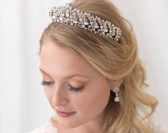 Rhinestone Bridal Crown, Jeweled Wedding Tiara, Rhinestone Bridal Tiara, Floral Bridal Crown, Floral Headpiece, Bridal Headpiece ~TI-3308