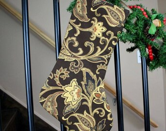 Traditional Christmas Stocking; Reversible Traditional Chocolate Brown and Gold Jacobean Cotton Christmas Stocking