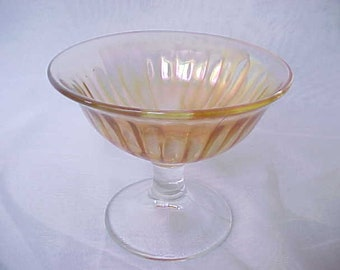 Vintage Marigold Carnival Glass Sherbet in Smooth Rays by Imperial, Antique Iridescent Ribbed Optic Glassware Dessert
