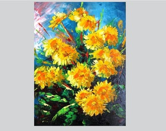 Textured painting Dandelion wall art Knife painting canvas Dandelion flower art Palette knife decor Oil painting canvas Flower wall art oil